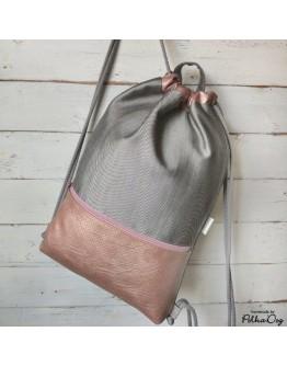 ezüst-rosé denim gymbag