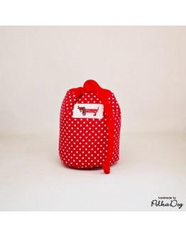piros polka mini jutalomfalat tartó