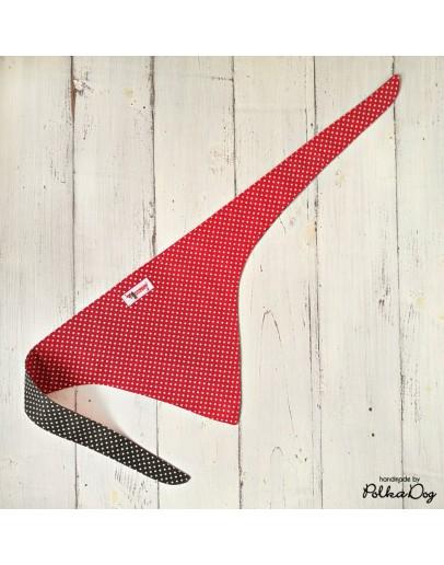 piros polka megkötős kendő