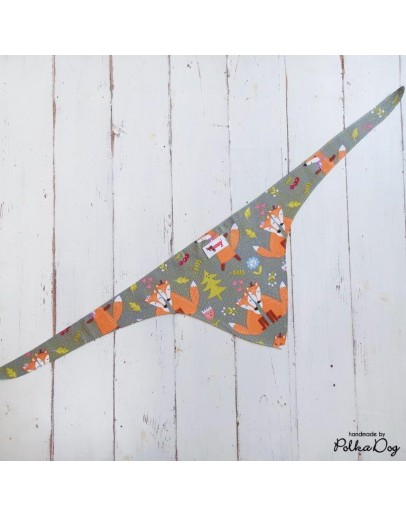 rókás megkötős kendő - szürke