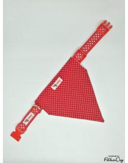 piros polka nyakörves kendő