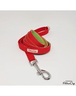 piros-zöld keskeny póráz