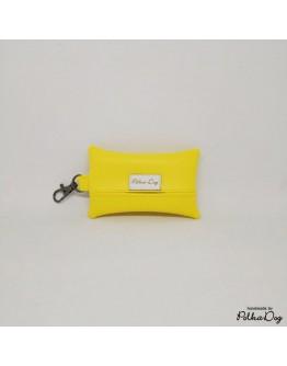 sárga textilbőr zacsitartó