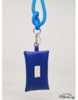kék textilbőr zacsitartó